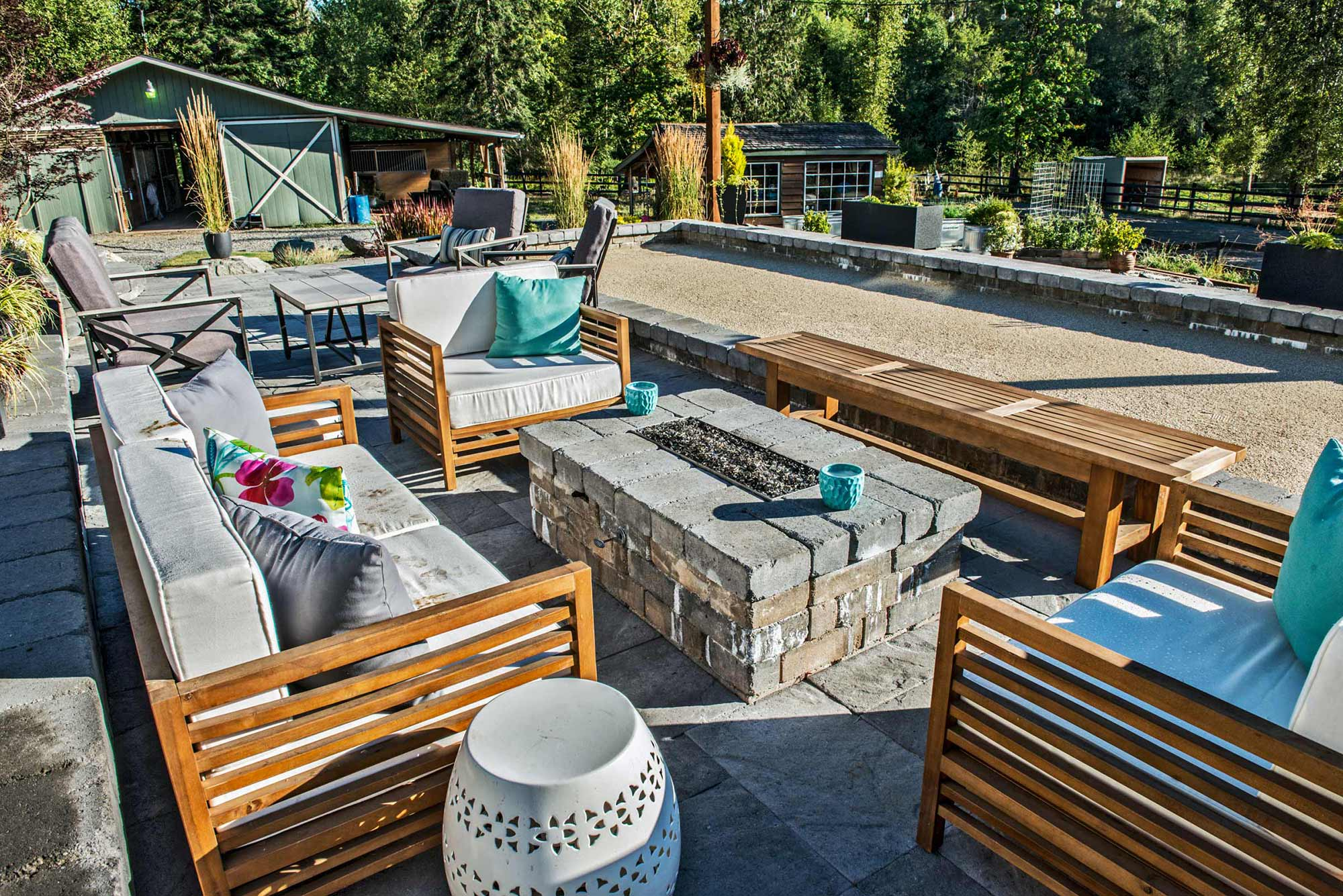 Olympia backyard patio and bocce ball court
