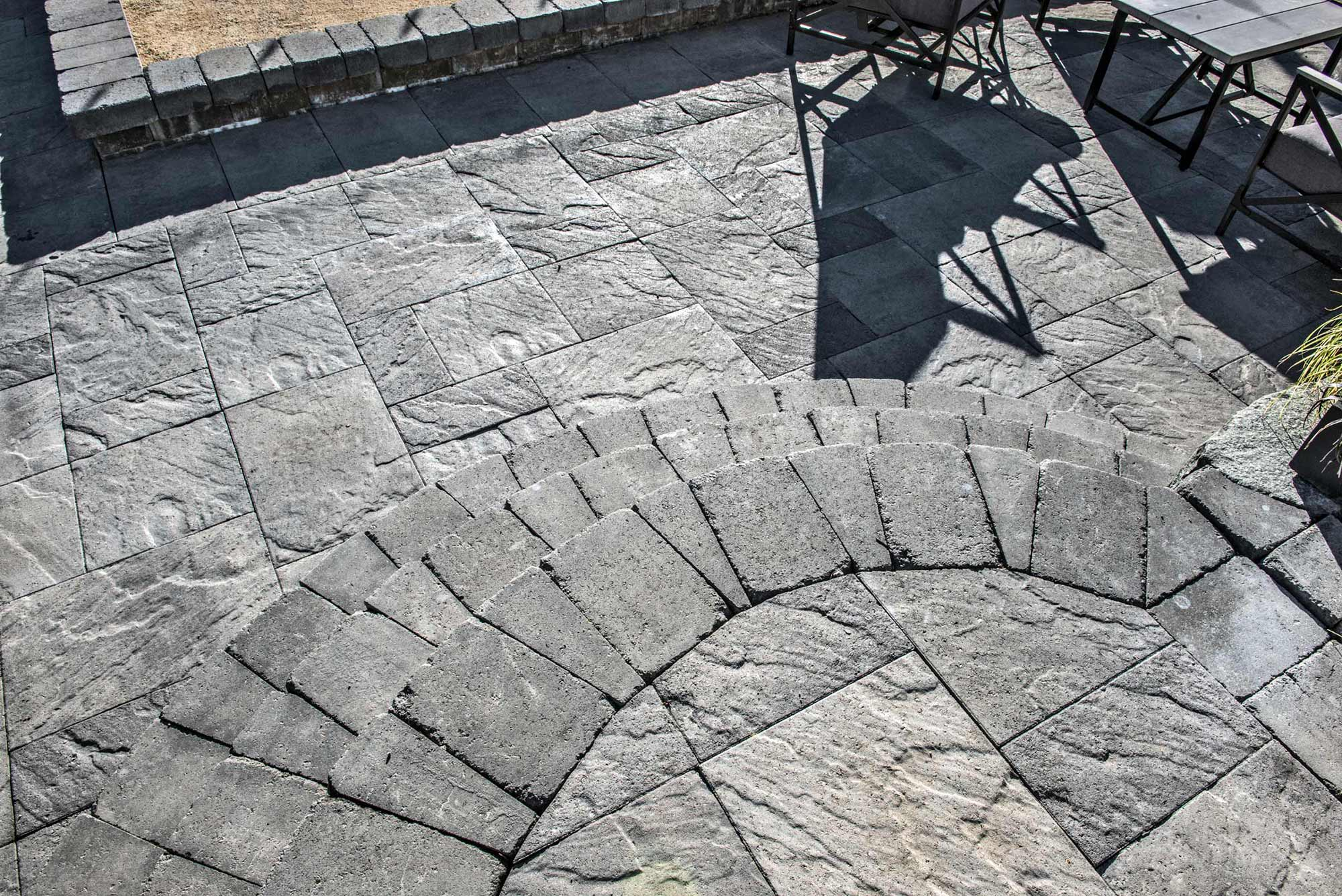 Columbia slate paver patio and Tuscan stone stairs