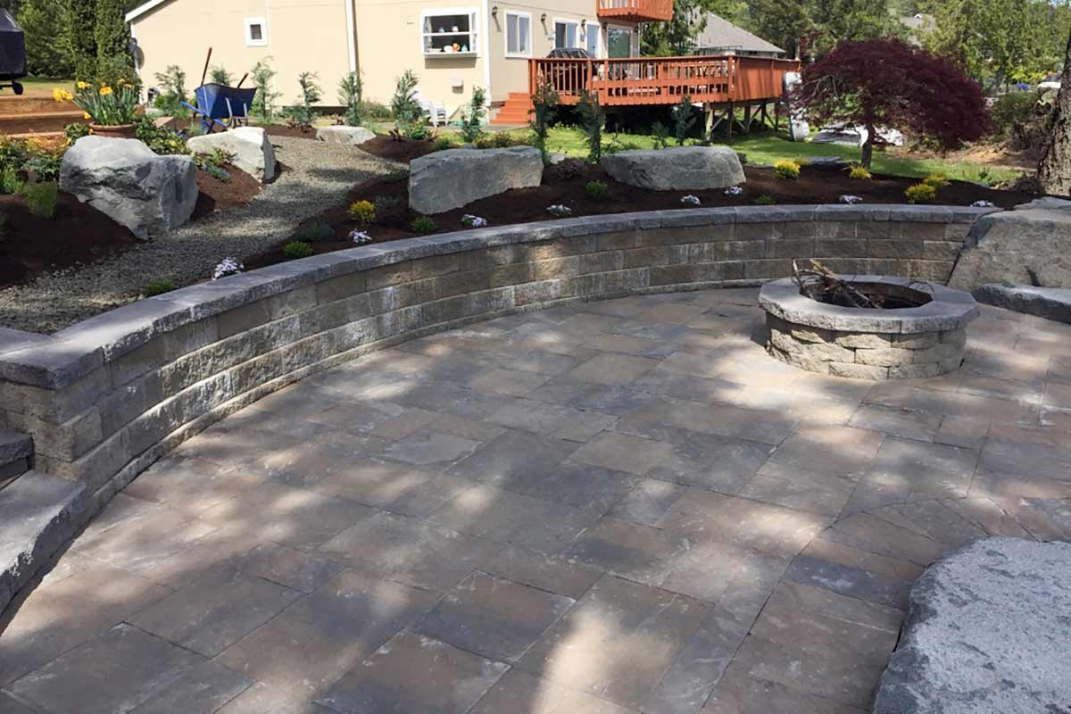 Fire pit, paver patio and retaining wall