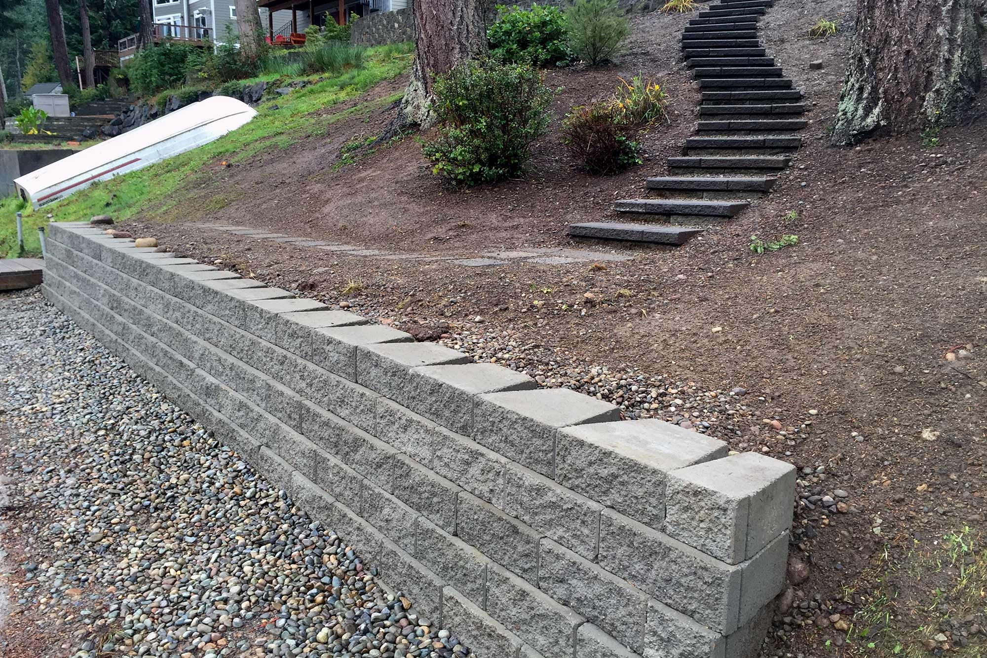 Retaining walls and staircases