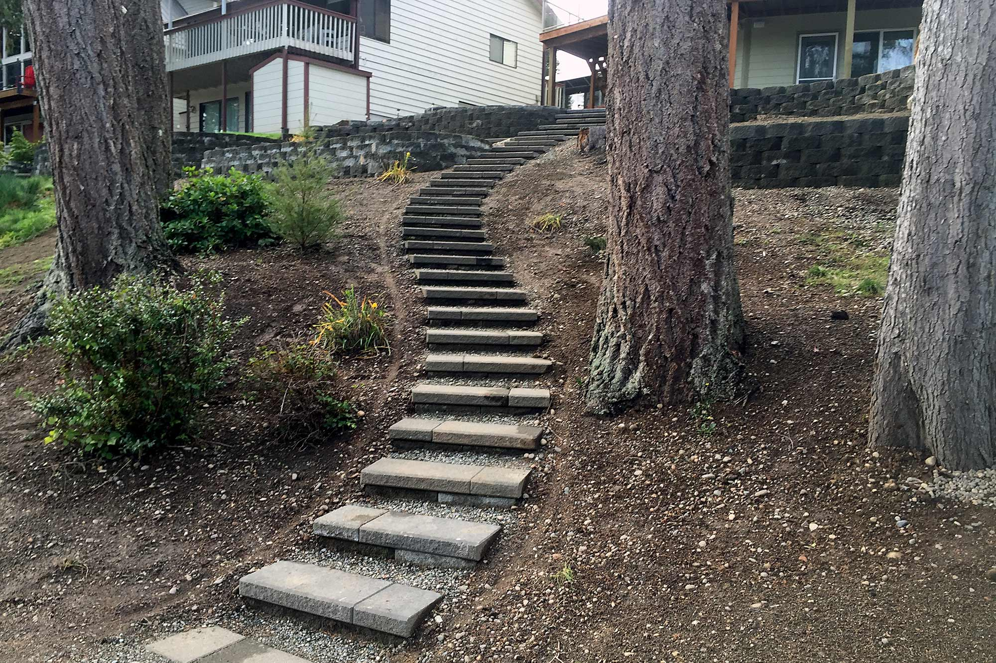 Staircase and retaining walls