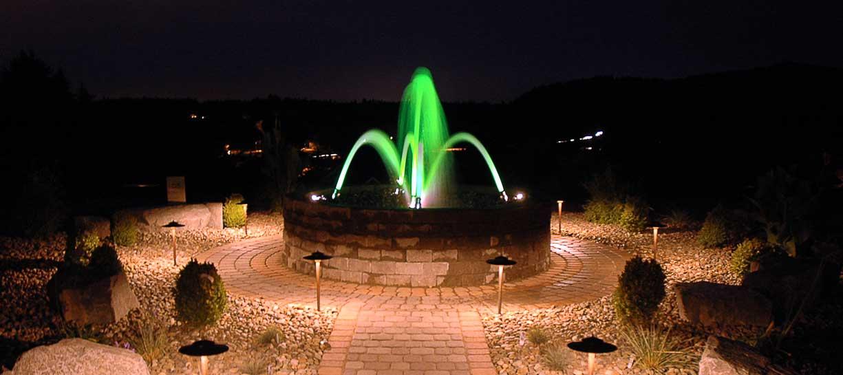 Circular Fountain at Night