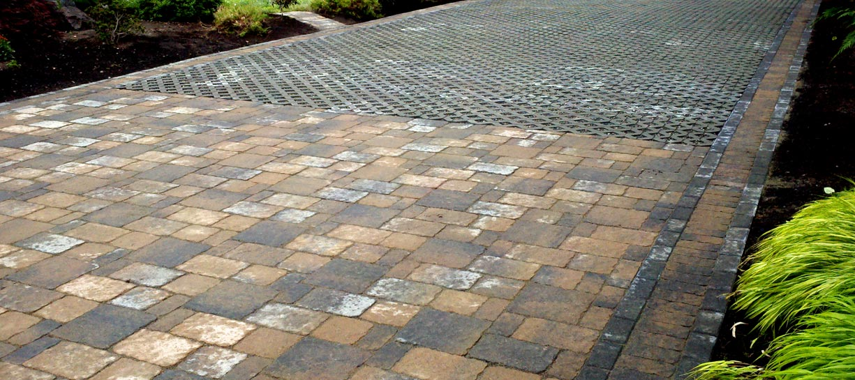 Permeable paver driveway with turf stone