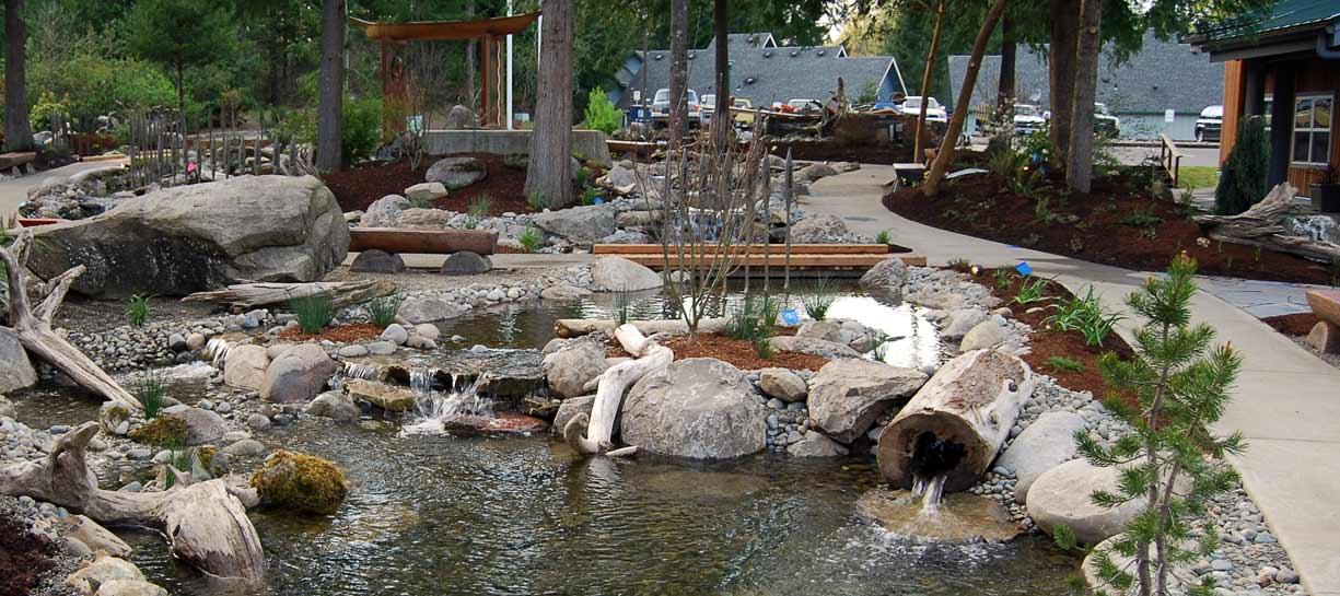 Veterans Memorial pond at Squaxin Tribal Center